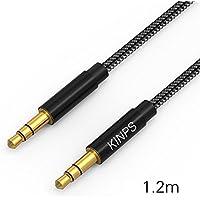 Cable Jack,Kinps 1.2m audio de Nylon Trenzado 3.5mm para coche,altavoces,auriculares, iPhone, iPad, iPod, Samsung, MP3 Player.(Negro)