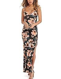 Vestito da donna Elegante   feiXIANG® Lungi Abito a fiori stampate Donna  Eleganti da Cerimonia Collo Appeso… 2b0d9a0039c