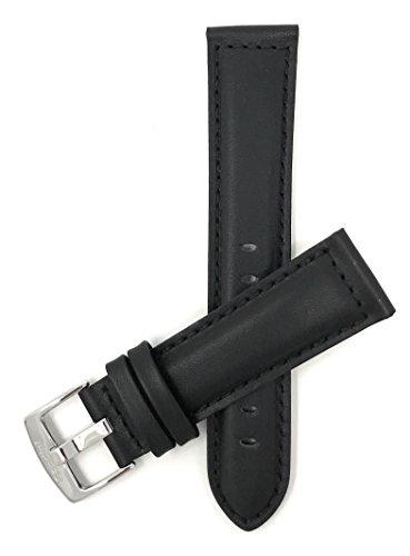 Leder Uhrenarmband 20mm, Schwarz, matte Oberfläche, mit Naht , auch verfügbar in braun, hellbraun und hellbraun