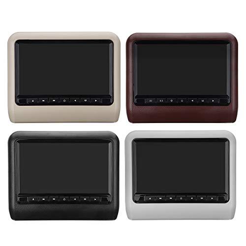 SRBI 2X 9 Inch Digital Screen Car Headrest Monitor AV+DVD USB SD Player Remote Control- Black