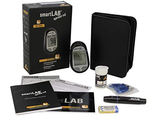 smartLAB sprint nG Blutzuckermessgerät Set mg/dL mit 10 Teststreifen und 10 Lanzetten in Schwarz mit Großes LCD Display