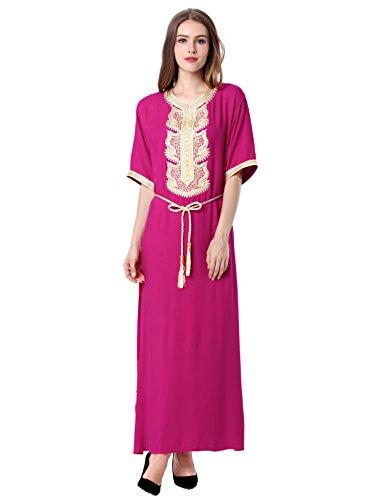 vetement femme musulmane robe islamique Caftan brodé jilbab jalabiya rayonne maxi dress longue 1604 Rose