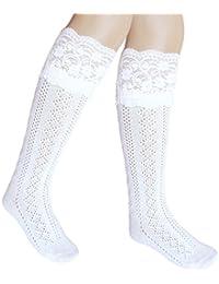 JHosiery Calcetines hasta la rodilla niñas escuela puños festoneados (23-26, 3 pares blanco con encaje)