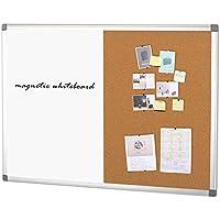 Tablero de anuncios de corcho magnético de pizarra blanca SwanSea con marco de aluminio, 90x60cm