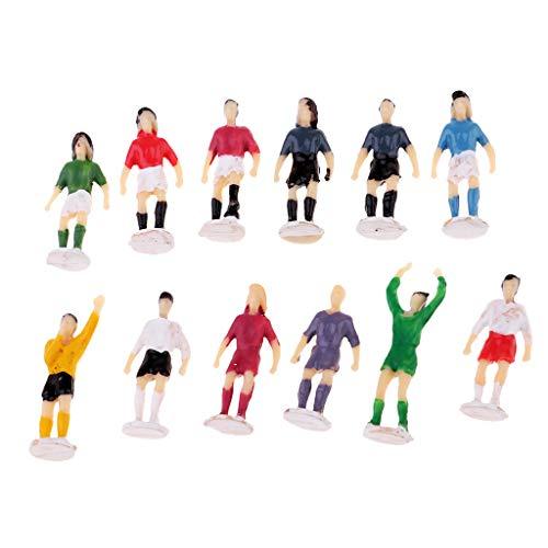 Baoblaze 12 Stück 1:87 Fußballer Sportler Menschen Modell Figuren Spielzeug - gemalt