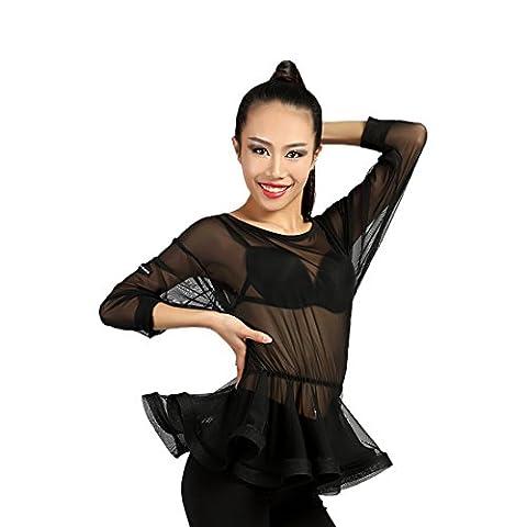 G1038 latin dance defined-waist lotus-leaf-style swing tops provided by GloriaDance (black(yarn),