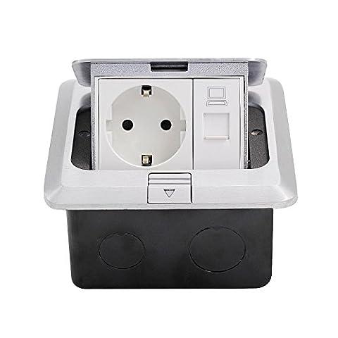 BAYTTER® Versenkbare Tischsteckdose 1-2 Fach Bodensteckdose Steckdose für Küchenarbeitsfläche Boden Edelstahl (1 Fach)