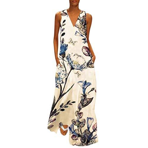 CAOQAO Elegant Damen Ballkleid Hochzeitskleid Festlich Dressurgerte Casual äRmellose V Ausschnitt Blumendruck Maxi Tank Langes Kleid