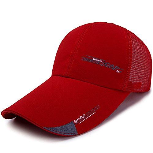 HSRG Hats Sommer-Baseballmütze-Sport-Maschen-Hut Für Golf-Laufende Fischen-Justierbare Maschen-Kappe Im Freien Für Männer,Red (Red Newsboy Cap)