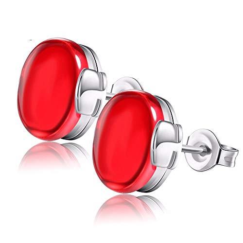 tecker Ohrhänger Luxus Naturstein Ohrring Grün/Blau/Rot/Weiß Silber Farbe Ohrstecker Für Frauen ()