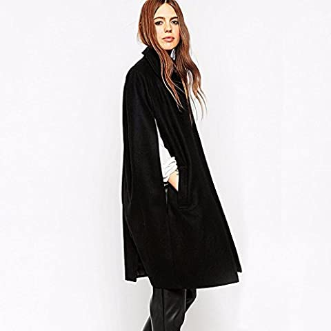 Señoras invierno Fashion Loose Batwing capa abrigo largo, negro, XL