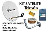 KIT SATELITE TELEVES ASTRA CON DISCO DE PARABOLICA DE 60cm + LNB TELEVES + ROLLO DE CABLE DE 20mt + BRAZO DE FIJACION A PARED Y CONECTORES F