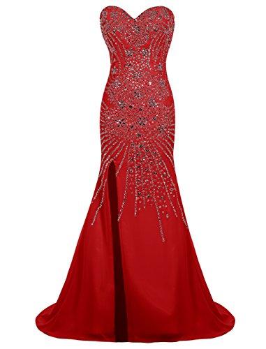 Dresstells, Robe de soirée Robe de cérémonie Robe de bal emperlée traîne moyenne ouverture latérale Rouge