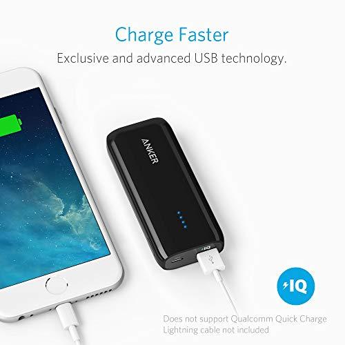 Anker Astro E1 5200mAh Mini Externer Akku Power Bank USB Ladegerät mit PowerIQ für iPhone 6s, 6, 6s Plus, Galaxy S6 S5 und weitere (Schwarz) - 4