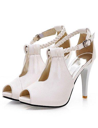 UWSZZ IL Sandali eleganti comfort Scarpe Donna-Sandali-Ufficio e lavoro / Formale / Casual-Tacchi / Spuntate-A stiletto-Finta pelle-Nero / Bianco / Beige White