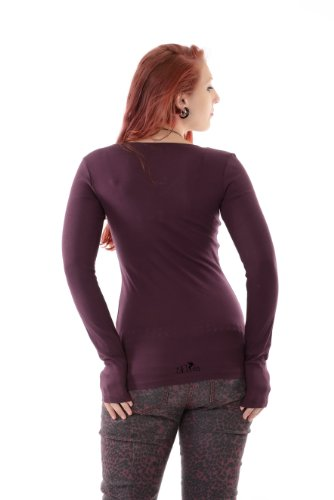 Chemise simple à manches longues / tee shirt Femmes Fashion / Hauts imprime elfes de la prairie de 3Elfen - Fille T-Shirt plum noir