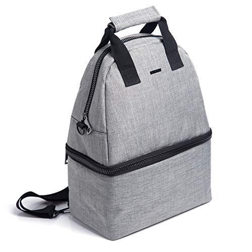 Putwo borsa termica 14l zaino termica ermetico doppio borsa pranzo 2 scompartimenti con tracolla regolabile borsa frigo per adulti bambini uomo donna per lavoro scuola picnic - grigio