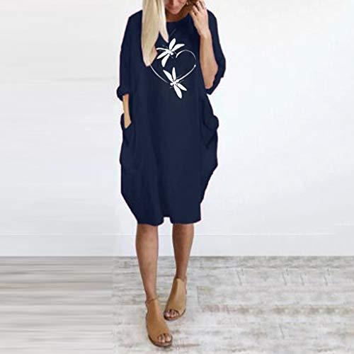 Junjie Damen Frauen Sommer Langarm gedruckt kurzes Minikleid Maxi Weiss Spitze große größen blusenkleid Navy, schwarz, grau, Wein, grün Line Sheer