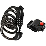 """Bike Lock Cable by ULT-Unite, High Security 5 Digit Resettable Combination Coiling Cable Basic Self Bike Locks with Mounting Bracket (4 Feet x 1/2"""")"""
