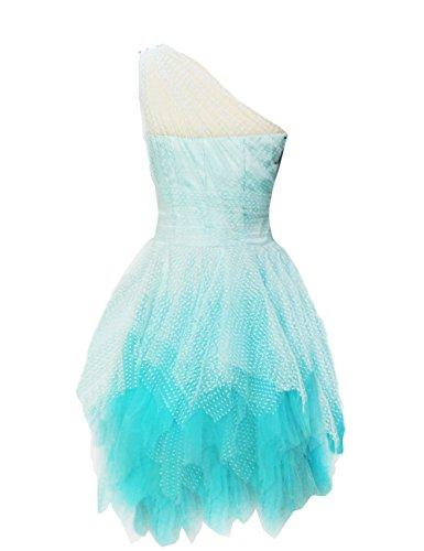 Dresstells, A-ligne / princesse une épaule court mini robe de demoiselle d'honneur en dentelle et tulle Bleu Clair