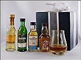 Geschenk Exklusives Set prämierte Whisky Miniaturen mit kleinem Glas, kostenloser Versand