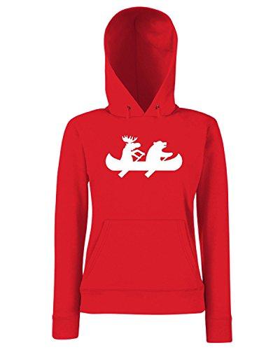 T-Shirtshock - Sweats a capuche Femme FUN0721 bear and moose canoe sticker 21827 Rouge