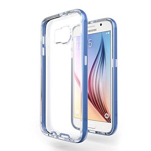 Azorm Handyhülle für Samsung Galaxy S6, Hybrid Edition Smartphone Hülle, Bumper Schutzhülle Anti-Rutsch und Kratzfest, Silikon Rückseite Transparent - Blau (Metalleffekt)