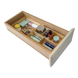Axis Communication Make Up Kosmetik Organizer erweiterbar Schublade Trennwand Tablett für Badezimmer Aufbewahrungs, natur Holz