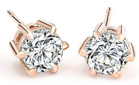 SaySure - 18K Real Rose Gold/Platinum Plated Crystal Stud Earrings