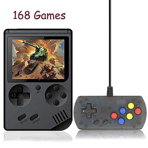 Kalolary 168 Spiele Handheld Spielkonsole, Gameboy FC System Plus Extra Joystick Tragbarer Mini Controller 3-Zoll-Unterstützung TV 2 Player 168 Klassische Spielkonsole, Geschenke für Kinder - Schwarz (Boy-system Game)