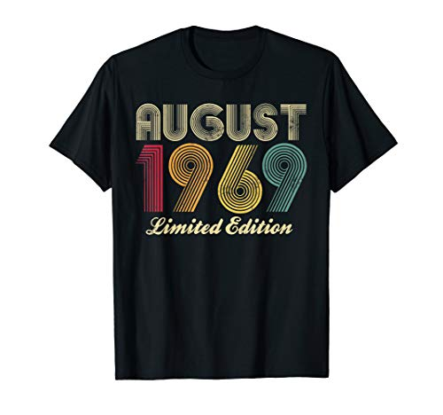 August 1969 50th Birthday Gift Vintage Limited Edition Retro T-Shirt -