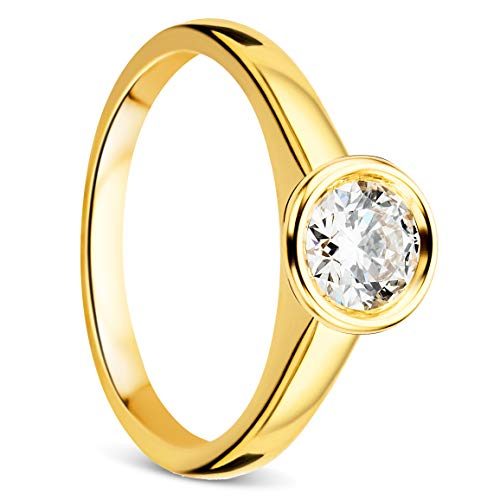 Orovi Ring Damen,Solitärring, Diamantring Gelbgold Verlobungsring 18 Karat (750) Gold Ring mit Diamant Brillanten 0.50 ct Schmuck