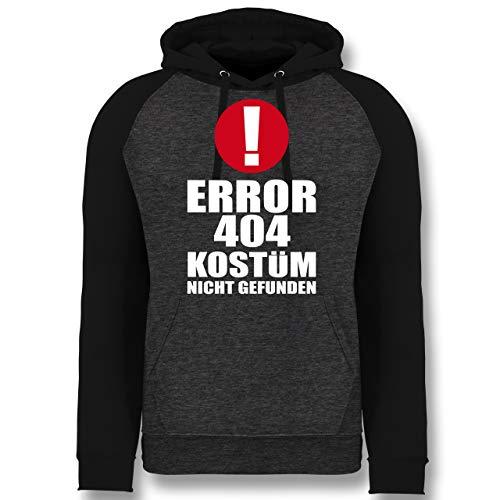 Shirtracer Karneval & Fasching - Error 404 Kostüm Nicht gefunden - L - Anthrazit meliert/Schwarz - JH009 - Baseball Hoodie