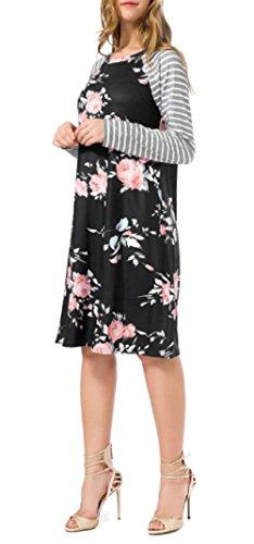 Walant Damen Blumen Streifen Langarm Rundhals Kleider Lose Sommerkleid Strandkleid Niedlich A-Linie Kleid Größe S-3XL Schwarz