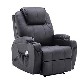 MCombo Fauteuil de massage électrique pour fauteuil relax avec fonction de couchage et chauffage vibrant Noir