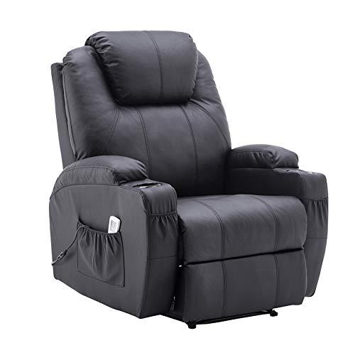 MCombo Elektrisch Massagesessel Relaxsessel Fernsehsessel Liegefunktion Vibration Heizung (Schwarz) -