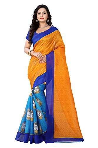 Aaradhya Fashion New Latest Collection Women's Bhagalpuri Pritnted Kalamkari Women's Saree/sari/sarees/saree's (Orange...