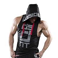 Mens Gym Stringer Tank Top Bodybuilding Athletic Workout Muscle Fitness Vest Black XL