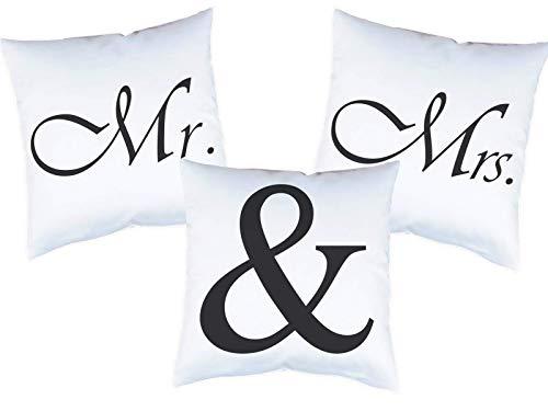 3er Set Kissen mit Druck Mr. & Mrs. Kissenbezüge -