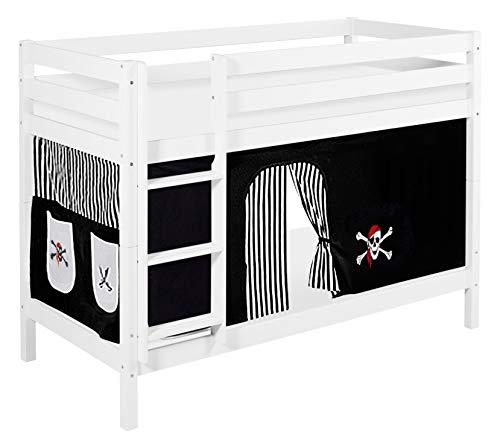 Schwarz Holz Etagenbett (Lilokids Etagenbett Jelle TÜV und GS geprüft Pirat, Spielbett mit Vorhang und Lattenroste Kinderbett, Holz, schwarz/weiß, 198 x 98 x 150 cm)