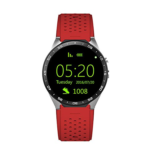 KW88 Smart Watch cellulare Android 5.1 OS 3G 1,39 pollici 400 * 400 screen MTK6580 Quad Core supporto 2.0 MP fotocamera Bluetooth SIM Card WiFi GPS frequenza cardiaca monitorare (Rosso + argento)