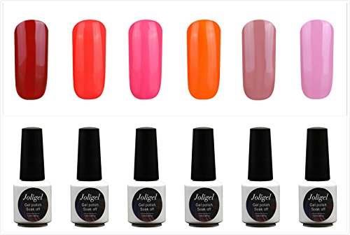 JOLIGEL Nagellack Set 6pcs Gel Farben für Nägel UV LED Soak Off Semi-Permanent für Maniküre 7,3ML, Gel Lack Sternenklarer Glanzeffekt, Ungiftig Naturharz, 08 (Süßigkeiten)