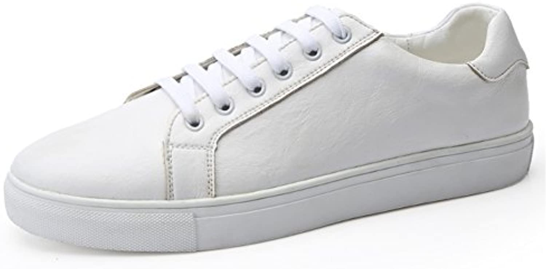 Toptak Zapatillas Bajas De Cuero para Hombres Clásicas Blanco Zapatillas Deportivas De Gimnasia,US8.5-EU43