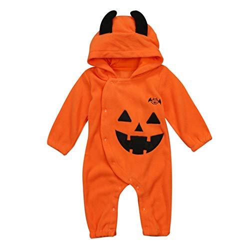 Neugeborenes Säugling Baby Junge Mädchen Lange Ärmel Halloween Kürbis Gesicht Teufel Horn Hoodie Strampler Spielanzug (18-24 Monate)