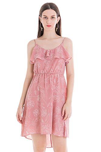 ädchen Sommer Strand Kleid Boho Polka Kleider Blumen Ärmellos Knielang Vintage Kleid Casual Onepiece,Blumendruck Pink,38 ()