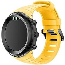 Malloom Deportes pulsera de silicona correa bandas para Suunto Core (Amarillo)