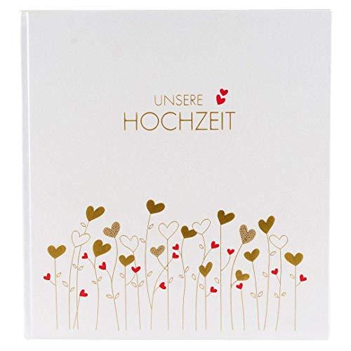 Goldbuch Hochzeitsalbum, Golden Hearts, 30 x 31 cm, 60 weiße Seiten und 4 illustrierte Seiten mit Pergamin-Trennblättern, Kunstdruck mit Goldprägung, Weiß, 08157