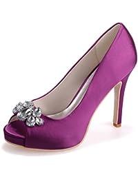Elegant high shoes5623-13 Femmes Talons Hauts En Soie Plate-Forme Boucle Orteils Peeking Toe Night Court Shoes, blue, 39