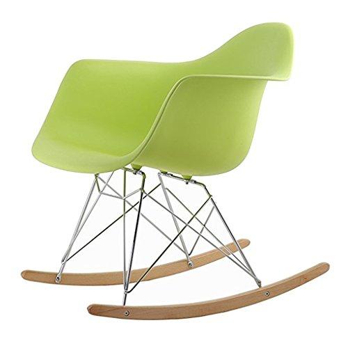 Chaise paresseuse Dossier Chaise à Bascule Mode Loisirs Chaise Balcon Chambre Chaise Longue pour Adultes Plastique + métal + Bois 61X68X71 cm LI Jing Shop (Couleur : Green -2)