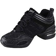 uirend Zapatos Aire Libre Deportes Danza Mujer - Lona Cordones Suela de  Goma Zapatillas Negro Informal 58dac318013
